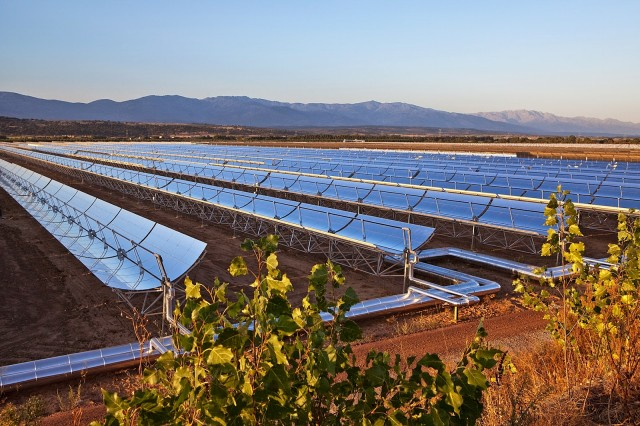 Morocco concentrated solar power plant panels