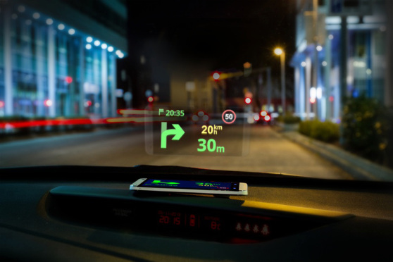 Heads up display in a car showing direction