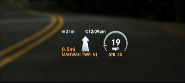 Information on heads up display in a car
