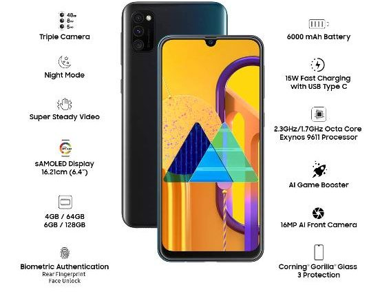 Best 6000mAh Battery phone in India – Samsung Galaxy M30s